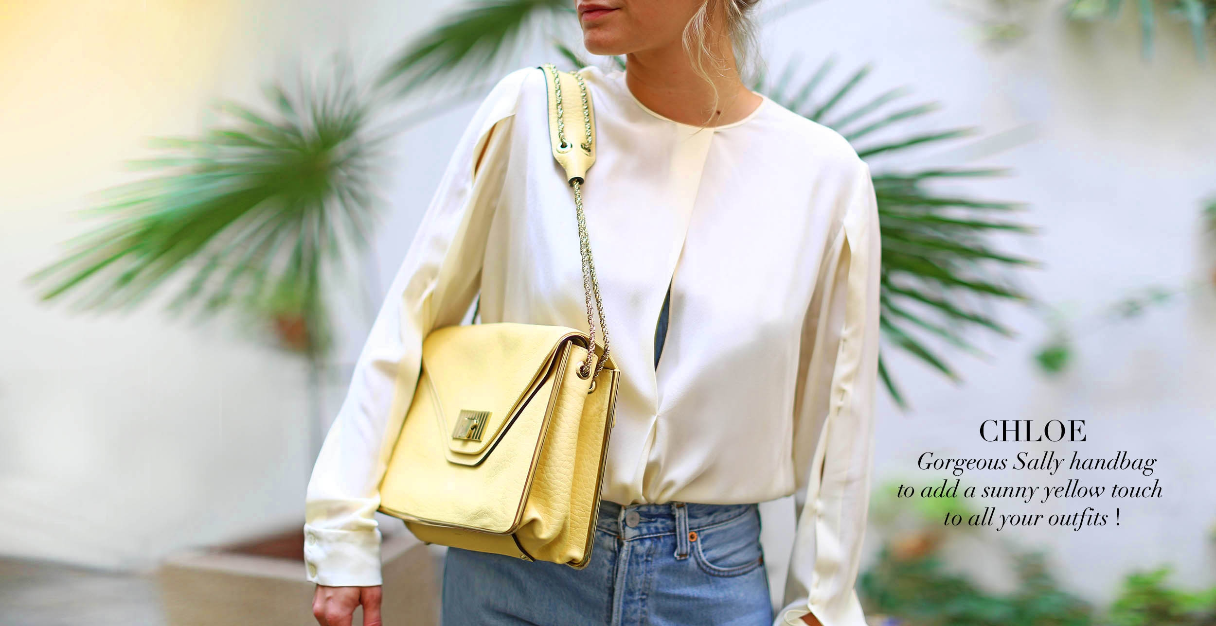 CHLOE Sally pale yellow grained leather shoulder bag and gold chain NEW Retail price €1710