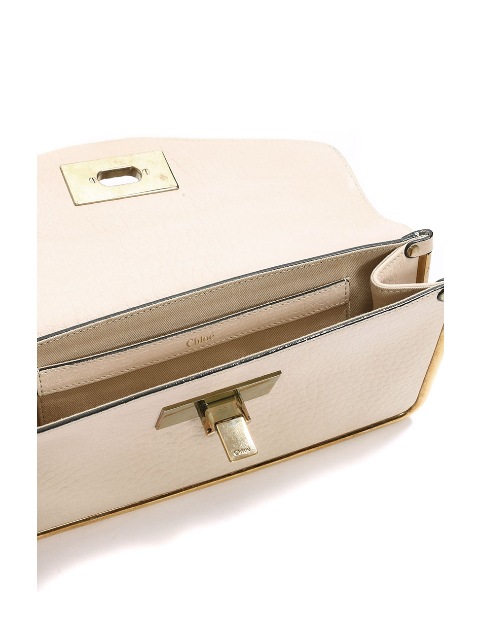 Louise Paris Chloe Sally Cream Grained Leather Clutch Bag With Elegant Fashion Gold Brass Lock Retail Price 850