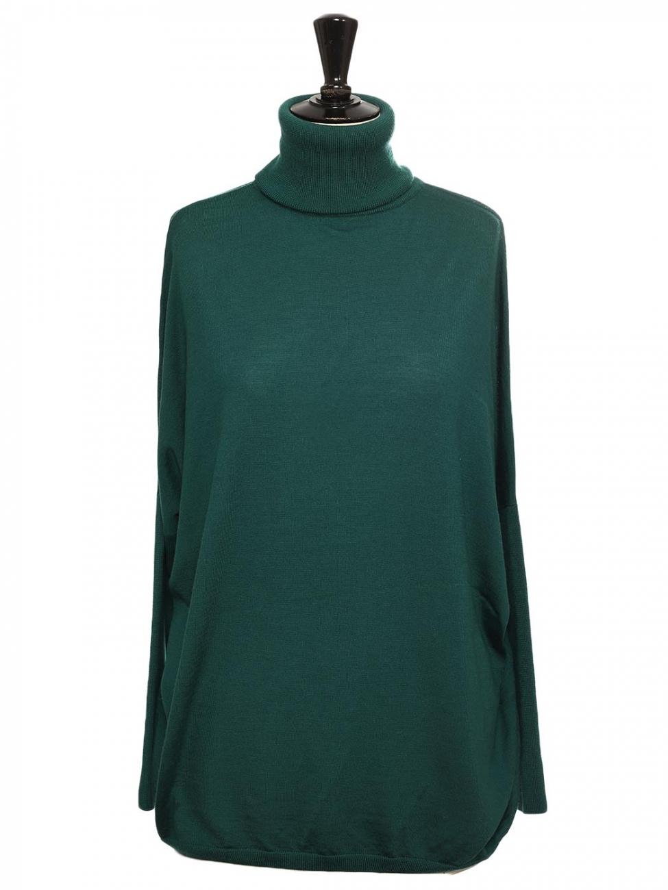 Couleur Vert Emeraude Foncé louise paris - allude cashmere pull col roulé coupe large en